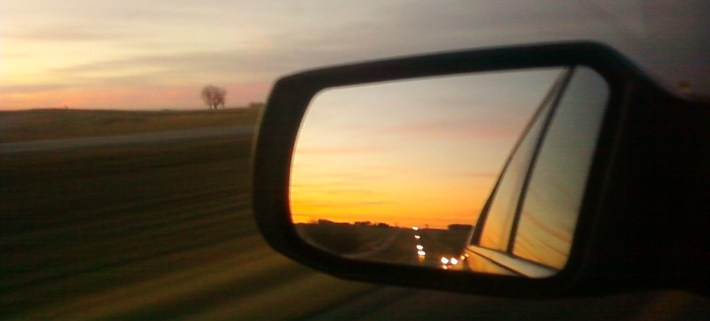 I-29, South Dakota, Sunset, rear-view mirror